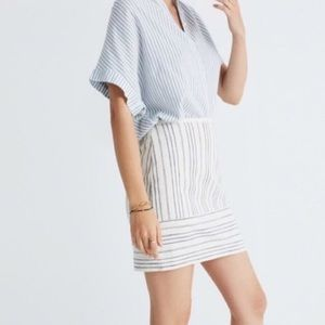 Madewell Cotton/Linen Blend Striped Mini skirt